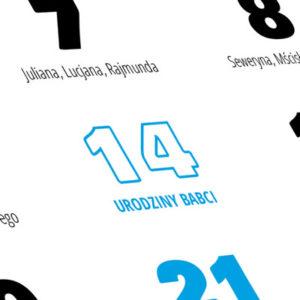 Kalendarz zawiera wszystkie standardowe święta i imieniny. To jednak nie wszystko. Możesz zdefiniować dowolną ilość własnych świąt, urodzin i rodzinnych rocznic.