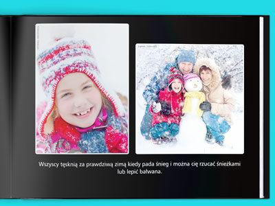 Na każdej stronie możesz umieścić własny tekst. Zwykle jest on umieszczony na dole pod zdjęciami lub obok zdjęć (zależnie od wybranego projektu). Miejsce na stronie jest dzielone między tekst i zdjęcia. Jeśli tekstu będzie więcej zdjęcia będą odpowiednio mniejsze aby zrobićmiejsce.