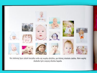 W fotoksiążce najważniejsze są zdjęcia. To przy ich pomocy opowiadamy naszą historię. W naszych fotoksiążkach poziomych A4 można umieścić aż 15 zdjęć na jednej stronie. To całkiem sporo ale ich ustawienie nie zajmie dużo czasu. W edytorze wskazujesz tylko, które zdjęcia mają byćna danej stronie nasz system inteligentnie je rozkłada na kartce tak aby najlepiej się prezentowały.