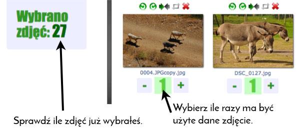 Każde zdjęcie możesz wydrukować jeden lub więcej razy. Pod zdjęciami plusem i minusem wybierasz ilość. W lewym górnym rogu podane jest ile zdjęć jest już wybranych.