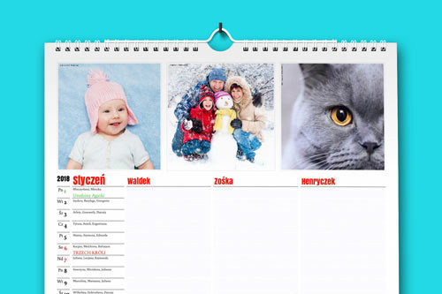 W każdym z 12 miesięcy planera możesz umieścić swoje własne zdjęcia. Dopasuj zdjęcie do miesiąca, pory roku lub wydarzenia z życia Twojej rodziny.