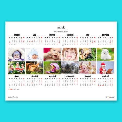 Możemy też umieścić po jednym zdjęciu na każdy miesiąc. Zdjęcia nie są kadrowane. Są umieszczane w kalendarzu w oryginalnym kształcie.