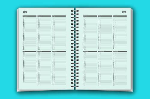 Kolejne strony to kalendarz na cały rok gdzie można zapisać najważniejsze rzeczy i widzieć je w jednym widoku. W największym terminarzu 14x21cm cały rok zajmuje 2 strony.  W terminarzu 10x22cm są to 3 strony a w najmniejszym terminarzu 10x15cm 6 stron.