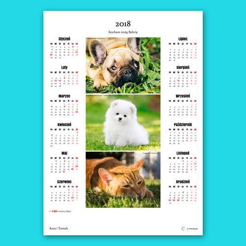 W kalendarzu możemy też umieścić kilka zdjęć. Zostaną one równo rozłożone na kartce tak aby zająć jak największy obszar. Zdjęcia nie są kadrowane, są umieszczane o oryginalnym kształcie.
