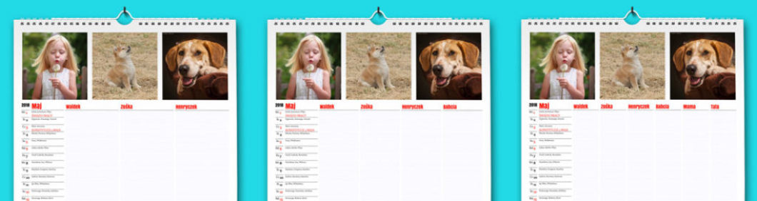 Planer tym się różni od zwykłego kalendarza, że zawiera dodatkową kolumnę dla każdego domownika. Liczbę domowników można zmieniać aż do 6 osób. Można oczywiście podać imię dla każdego z nich.