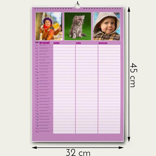Rozmiar 32 na 45 cm         Notatki na każdy dzień dla każdego członka rodziny         Od 1 do 6 członków rodziny  12 miesięcy plus okładka  Własne zdjęcie w każdym miesiący  Własne święta  Dowiedz się więcej