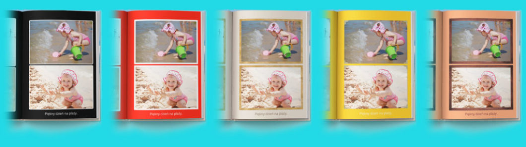 Jeśli już ustawisz zdjęcia, wpiszesz teksty i wybierzesz układ (projekt) książki możesz zacząć eksperymentować z kolorami. Do wyboru jest wiele sprawdzonych kombinacji kolorów, ramek na zdjęcia i krojów czcionek.
